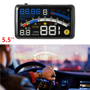 1x 5.5 Inch OBII 12V Car SUV HUD Head Up Display Digital Speeding   System