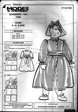 ▬► Patron Couture Modes et Travaux Robe 4 6 8 ans Novembre 1991