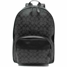 NWT COACH Mens Houston Backpack Canvas Classic Logo Grey Black F72483 FREE SHP