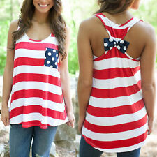 New Women's Summer Stripes Vest Top Sleeveless Blouse Casual Tank Tops T-Shirt