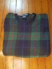 Vintage Polo Golf Ralph Lauren Crewneck Sweater Madras Plaid Navy/Green Sz Med