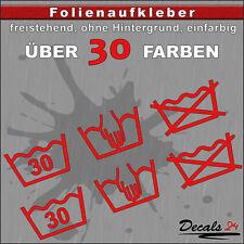 2er SET - WASCHSYMBOL Waschen Aufkleber Auto/Motorrad - 30 Farben - 18cm