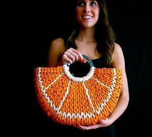 Kate Spade Orange Slice With a Twist wicker tote Straw Handbag BEACH FRUIT WEDGE