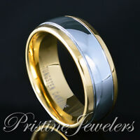 🔥 NEW Mens Tungsten Ring 18K Gold Silver Polished Dome Wedding Band Engagement