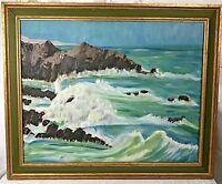 Framed Painting Ocean Coast Beach Rocky Waves Gold Green Frame