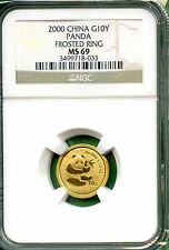 CHINA  2000  PANDA GOLD 1/10 OZ   10 YUAN  NGC MS 69