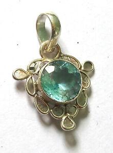 Natural Blue Topaz Round Shape Gemstone Pendant 925 Sterling Silver Pendant Gift