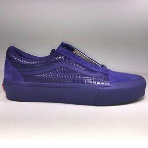 VANS Old Skool LX Croc Skin Deep Blue Purple Shoe Mens Size 8 / Womens Size 9.5