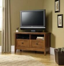 Corner TV Stand Wood Console Media Entertainment Living Room Flat Screen Oak New
