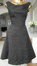 MONSOON BLACK JAQUARD JAYA 50's COCKTAIL PARTY WEDDING EVENING SPARKLE DRESS 22