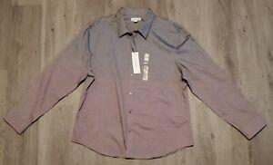 Calvin Klein Men's Dress Shirt 2 tone Grey&Purple button down long sleeve XXL
