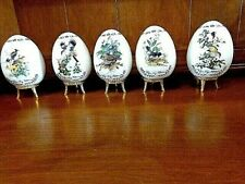 Set of 5 1995 Danbury Mint Porcelain Songbird Eggs w/Stands by Roger Peterson