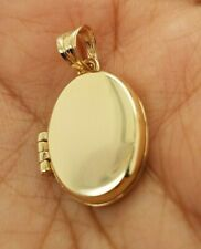 14K Solid Yellow Gold Plain Oval Locket Photo Pendant Custom Engravable