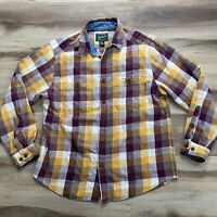 Woolrich Mens Large Heavy Flannel Long Sleeve Button Up Plaid Shirt Green Label