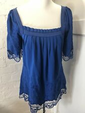 Bardot Size 8 Royal Blue Top Shirt EUC Hippy Boho Casual Cobalt