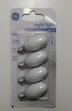 Bulbs 4 White Candelabra Base C7 91855 GE 4 Watt Night Light Bulb New