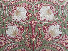 William Morris Curtain Fabric 'Pimpernel' 3.6 METRES (360cm)  Red/Thyme - Linen