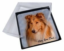 4x Rough Collie 'Love You Dad' Picture Table Coasters Set in Gift Box, DAD-90C