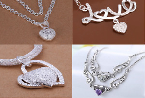 Assorteds Silver Plated Women's Heart Butterfly Angel Wings Pendant Necklaces