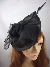 Black Bow Saucer Sinamay Fascinator - Occasion Wedding Races Hat Funeral