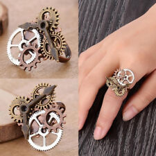 EG_ ANTIQUE STEAMPUNK WATCH POINTER GEARS OPENING FINGER RING PUNK JEWELRY LIBER