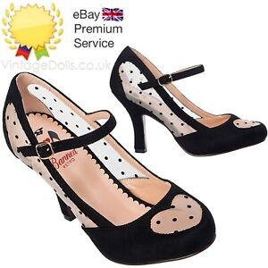 Banned Apparel Elegant Spots Mary Jane 50s Classy Faux Suede Blush Pumps Shoes