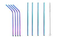 Rainbow Reusable Metal Drinking Straws Stainless Steel Straw Bent Straight Short