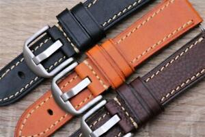 Watch Strap Genuine Top Grain Calf Leather Double Layered Durable Stitch