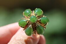 14k Yellow Gold Cluster Round Pear Cabochon Green Nephrite Jade Ring Size 7 9.7g