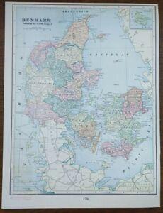 """Vintage 1903 DENMARK Map 11""""x14"""" ~ Old Antique Original MIDDELFART SVENDBORG"""
