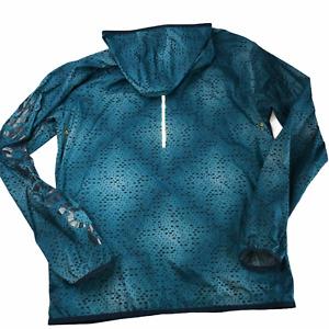 New Balance Windbreaker Lightweight Running Jacket Hood Green Black Dots Men's M