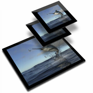 Glass Placemat  & 2x Coaster  - Marlin Swordfish Sea Creature  #21846