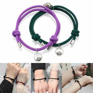 2*Pcs Attract Couples Bracelets Bracelet Rope Weaving Magnet Love Jewellery