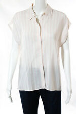 Equipment Femme Light Pink White Silk Striped Button Front Top Size Small