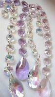 4 Teardrop Suncatchers Chandelier Crystals Prisms Iridescent AB Pink Lilac