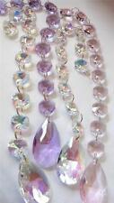 4 Chandelier Crystal Prisms Strands Iridescent AB Pink Lilac Suncatchers