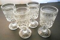 Vtg Anchor Hocking Wexford Diamond Pattern 4 1/2' Stemmed Glasses Set of 4