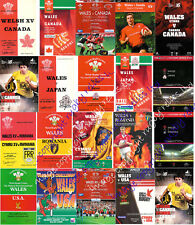 WALES v CANADA, JAPAN, ROMANIA & USA 1971-2008 RUGBY PROGRAMMES *REDUCED PRICES*