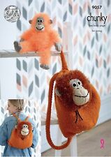 King Cole 9057 Orangutan Backpack & Toy Tinsel Chunky Knitting Pattern- Free P&P