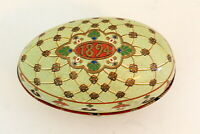 "Vintage 1894 Egg Tin Container Painted Empty Keepsake 3"" x 4.5"""