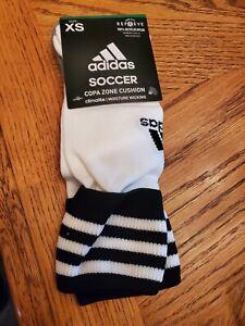 Adidas soccer copa zone cushion socks moisture wicking White /blackstripe NEW XS