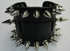 WIDE LEATHER BIKER PUNK GOTH WATCH BAND CUFF BRACELET W/BUCKLE USA With Spikes