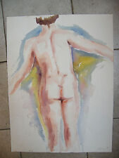Watercolour Nude Woman de dos André Simon 1926-2014 1989 Artist Lorraine