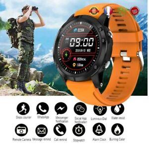Montre Connectée de Sport Homme Bluetooth, étanche Ip68 Bracelet Orange