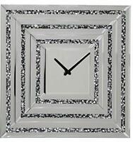 Large Mirror Clock - Pharmore Glass Silver Crushed Diamond Crystal Wall Clock