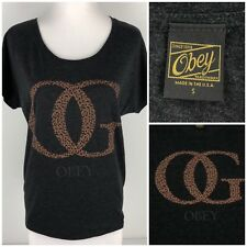 Obey Womens Small Top Shirt Gray OG Logo Loose Gray Made In USA