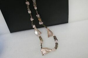 """NECKLACE ABOUT 25"""" LONG WITH QUARTZ, AGATE AND ABALONE REAL NICE"""
