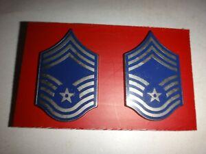 Pair Of US Air Force CHIEF MASTER SERGEANT Metal Badges + Clutchback Pins