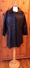 Taglia UK14 EU40 US10 vintage da donna nero corto cappotto in vera pelle