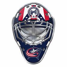 "NHL Licensed Columbus Blue Jackets Mask Premium Aluminum Emblem 3""x4"" New"